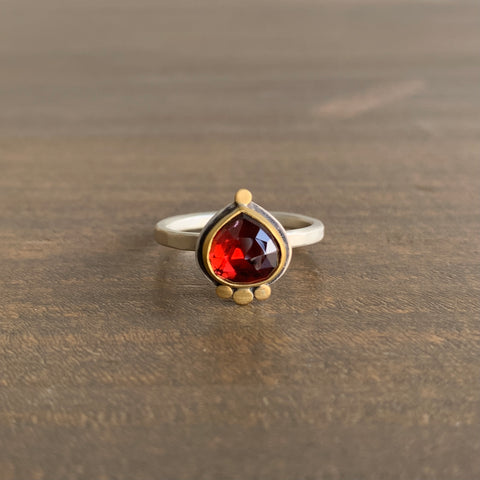Ananda Khalsa Rose Cut Garnet Teardrop Ring