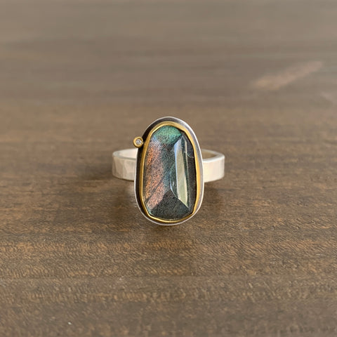 Ananda Khalsa Rose Cut Labradorite Ring