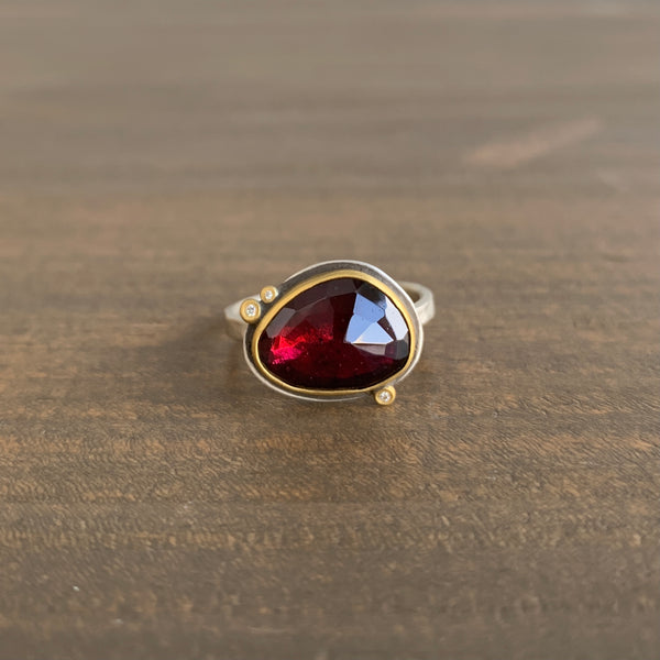 Ananda Khalsa Rose Cut Garnet Ring