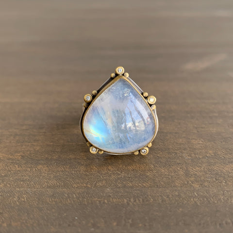 Ananda Khalsa Smooth Teardrop Moonstone Ring
