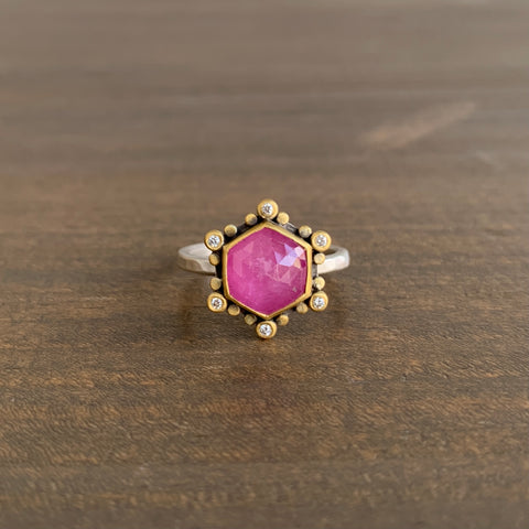 Ananda Khalsa Rose Cut Hexagon Pink Sapphire Ring