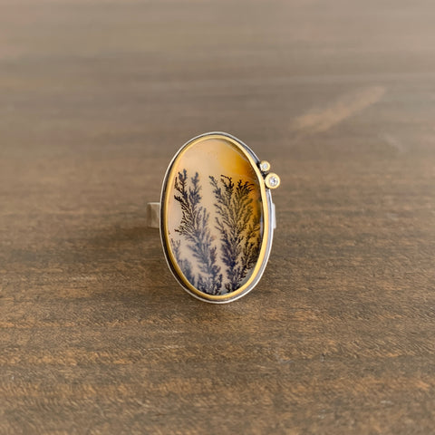 Ananda Khalsa Vertical Oval Dendritic Agate Ring