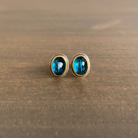 Ananda Khalsa Oval Rose Cut London Blue Topaz Stud Earrings