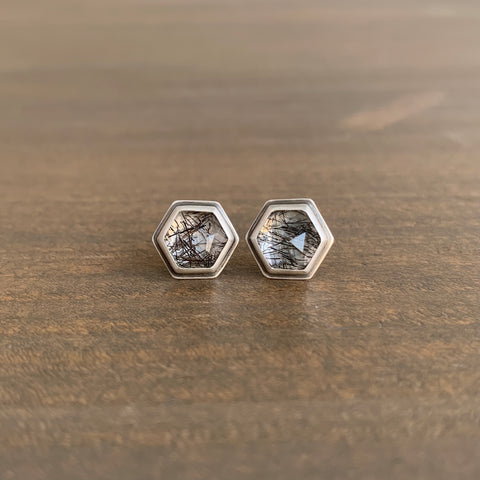 Ananda Khalsa Hexagon Tourmalinated Quartz Stud Earrings