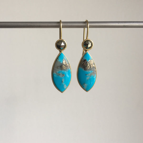 Monika Krol Campitos Turquoise Earrings with Rose Cut Pyrite