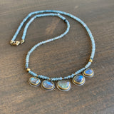 Ananda Khalsa Beaded Ombré Blue Zircon Necklace with Labradorites