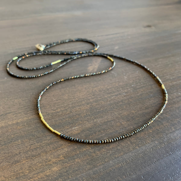Ananda Khalsa Beaded Pyrite Necklace