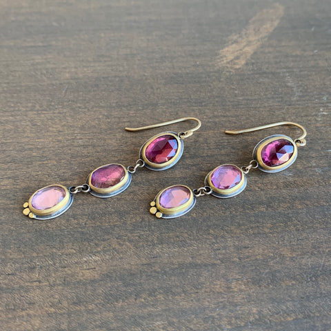 Ananda Khalsa Ombré Pink Tourmaline Three-Stone Earrings