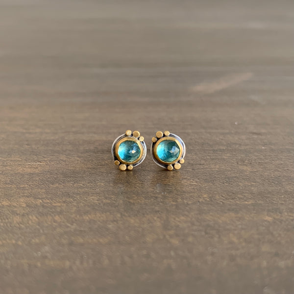 Ananda Khalsa Round Rose Cut Apatite Stud Earrings