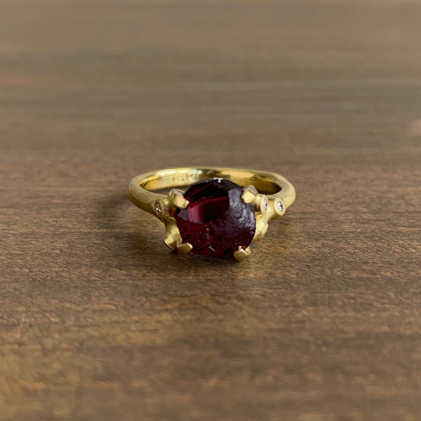 Johnny Ninos Rough Luxe Cluster Ring with Rhodolite