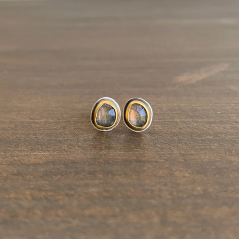 Ananda Khalsa Rose Cut Labradorite Stud Earrings