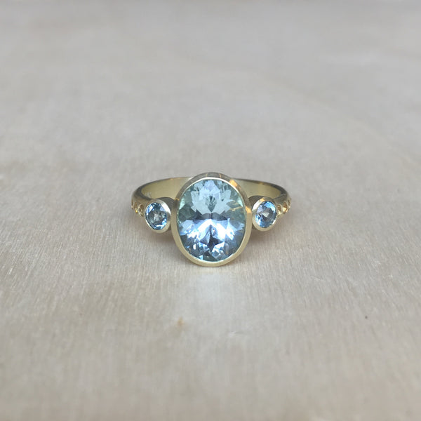 Judi Powers Three-Stone Ring with Aquamarine, Topaz, and Sapphire
