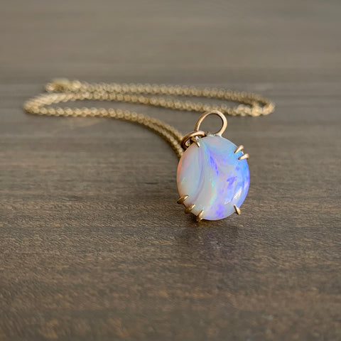 Hannah Blount Rainbow Lightning Ridge Opal Vanity Necklace
