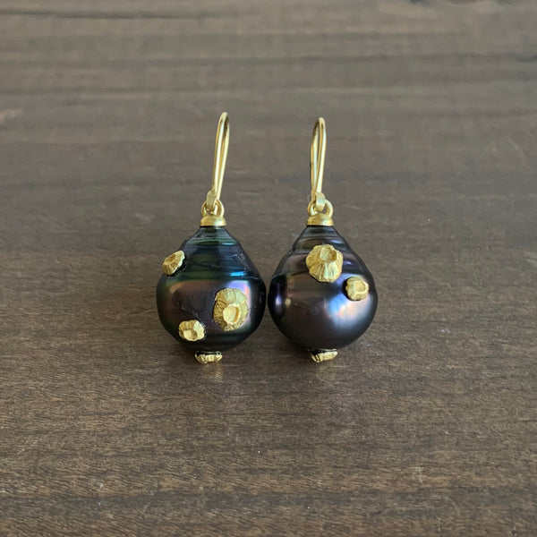 Hannah Blount Tahitian Pearl Earrings with Barnacles