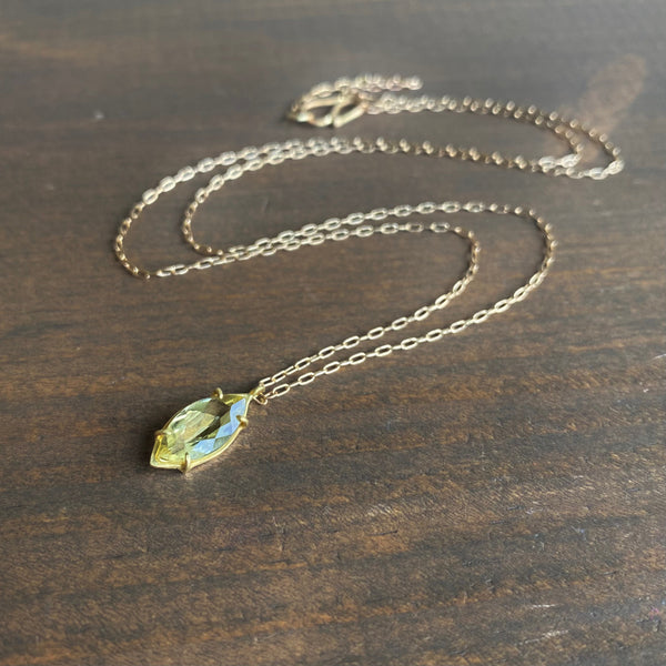 Rosanne Pugliese Faceted Yellow Beryl Navette Necklace
