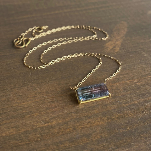 Rosanne Pugliese Bicolor Grey/Pink Tourmaline Bar Pendant
