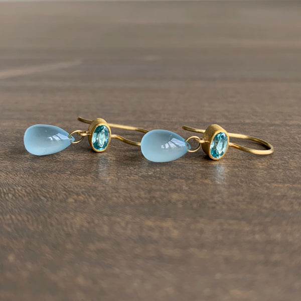 Mallary Marks Zircon and Aquamarine Apple & Eve Earrings