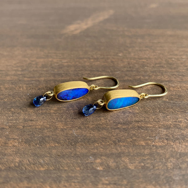 Mallary Marks Opal and Blue Sapphire Apple & Eve Earrings