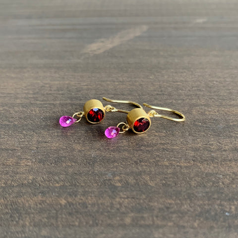 Mallary Marks Garnet and Ruby Apple & Eve Earrings