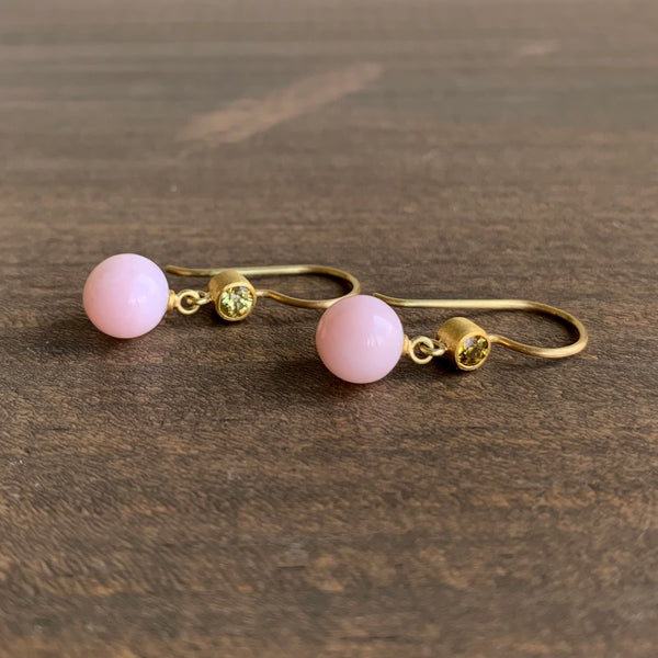 Mallary Marks Yellow Mali Garnet and Pink Opal Apple & Eve Earrings