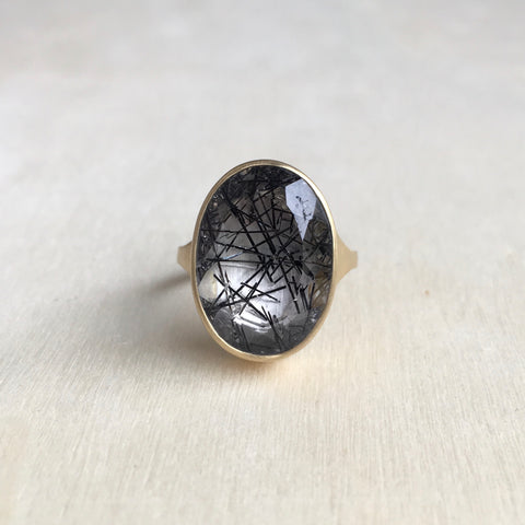 Monika Krol Brazilian Tourmalated Quartz Cathedral Ring