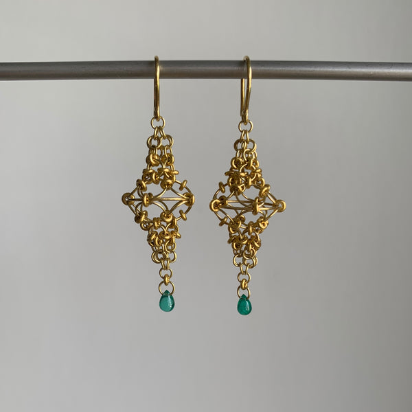Mallary Marks Gold Spire Earrings with Emeralds