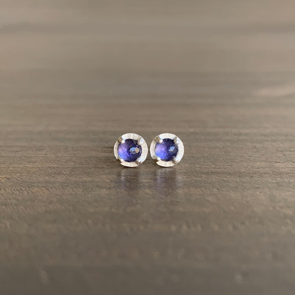 Heather Guidero Carved Prong Set Iolite Studs