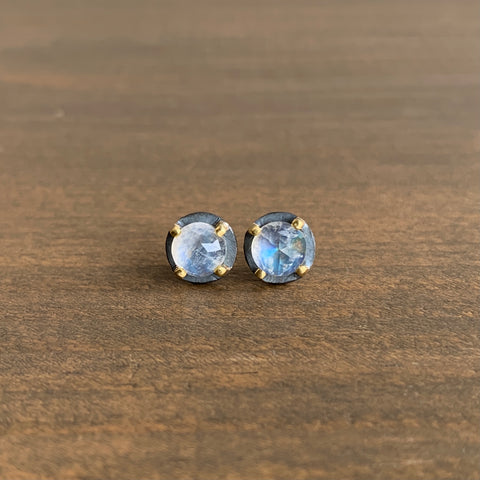 Heather Guidero Carved Prong Set Rainbow Moonstone Studs