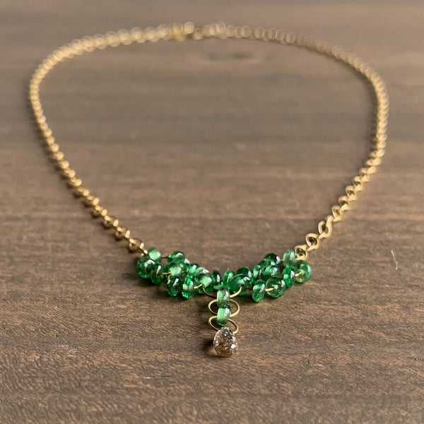 Mallary Marks Tsavorite Petite Trestle Necklace with Brown Diamond