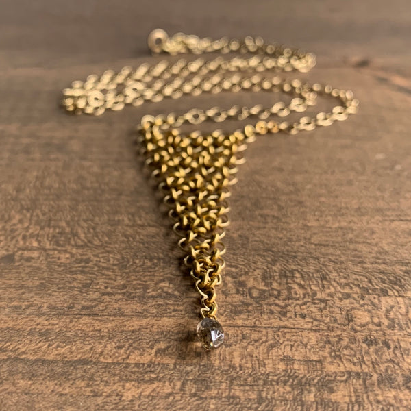 Mallary Marks Gold Petite Trestle Necklace with Brown Diamond