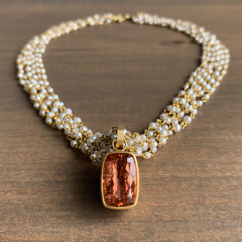 Mallary Marks Six Strand Pearl Spun Sugar Necklace with Peach Tourmaline