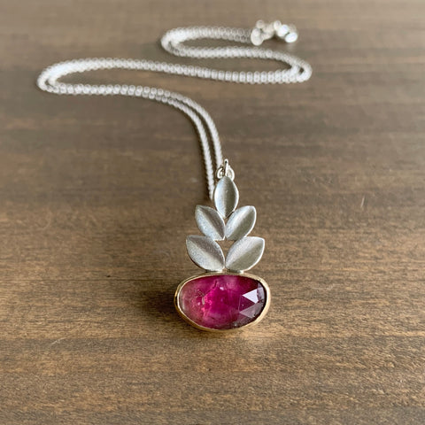 Katie Carder Watermelon Tourmaline Oval Leaf Necklace