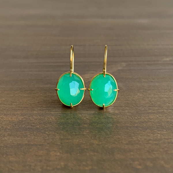 Mimi Favre Oval Faceted Chrysoprase Earrings