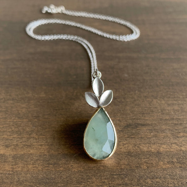 Katie Carder Pale Green Sapphire Leaf Necklace