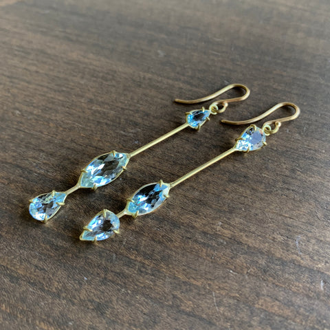 Rosanne Pugliese Asymmetrical Triple Aquamarine Drop Earrings