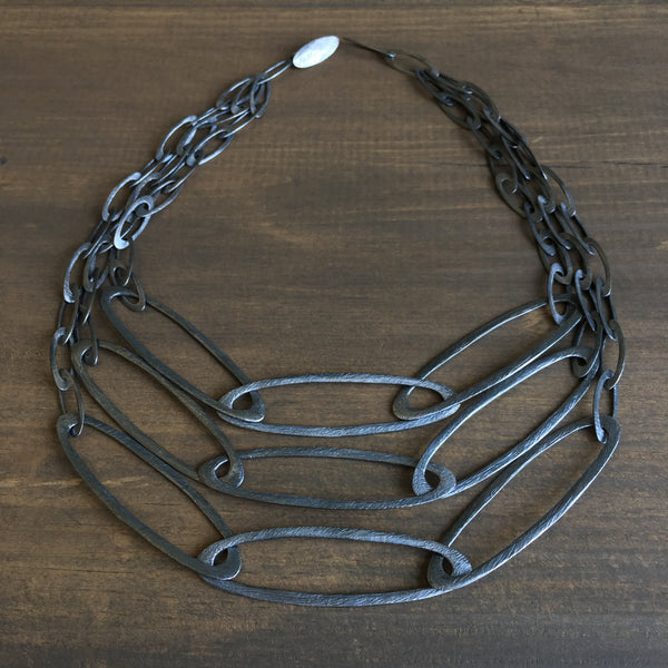 Heather Guidero Carved Three Strand Ovals Necklace