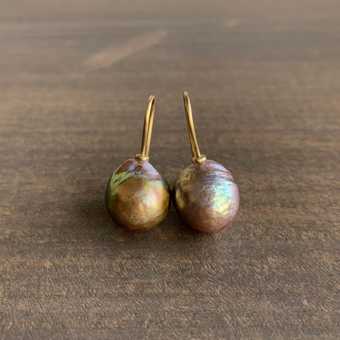 Mimi Favre Baroque Green / Pink Fireball Pearl Earrings
