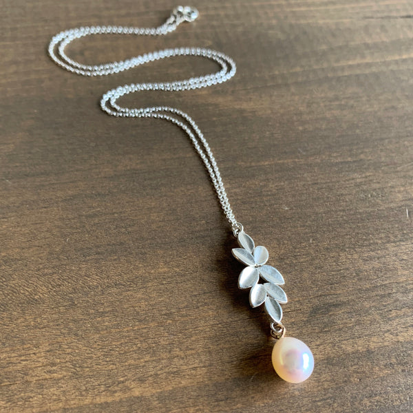 Katie Carder Leaf Cluster Necklace with Pearl Drop