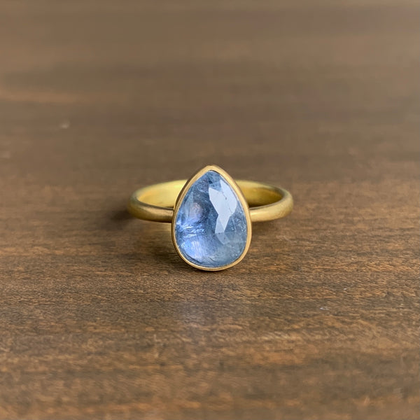 Lola Brooks Periwinkle Tear Drop Natural Sapphire Ring