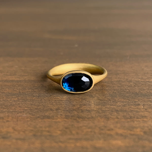 Lola Brooks Oval East/West Blue Sapphire Ring
