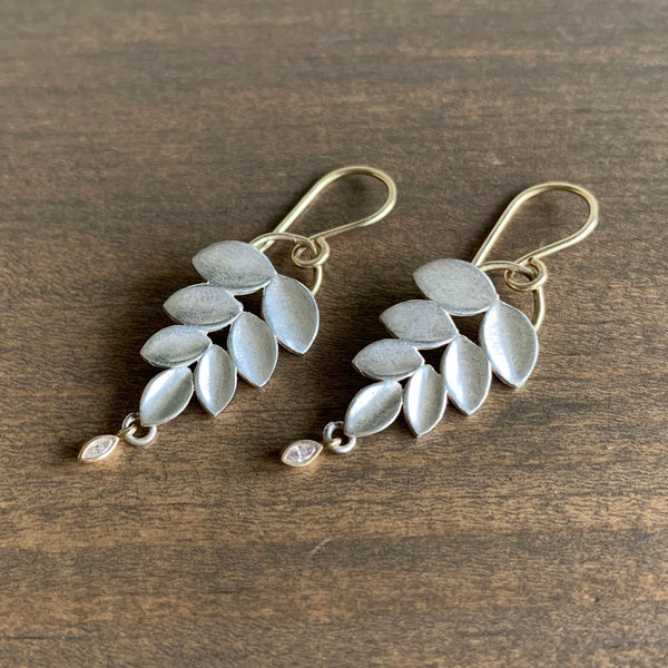 Katie Carder Silver Leaf Earrings with Marquise Diamond Drops