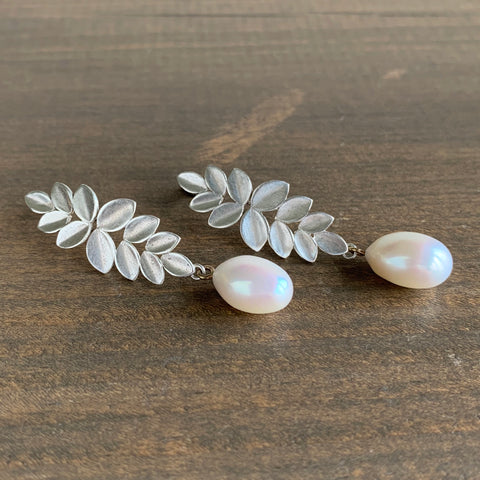 Katie Carder Leaf Cluster Earrings with Pearl Drops