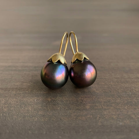 Mimi Favre Tahitian Pearl Morning Glory Pod Earrings