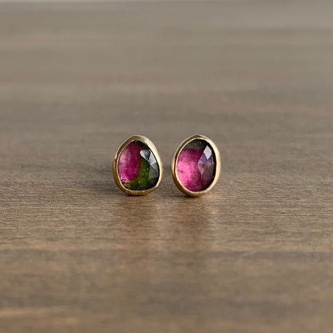 Katie Carder Small Watermelon Tourmaline Sister Studs