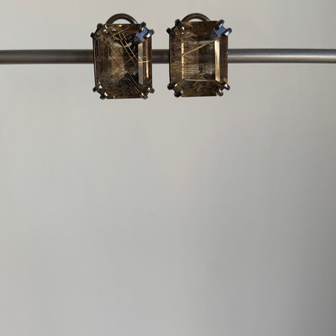 Mimi Favre Emerald Cut Smoky Rutilated Quartz Earrings