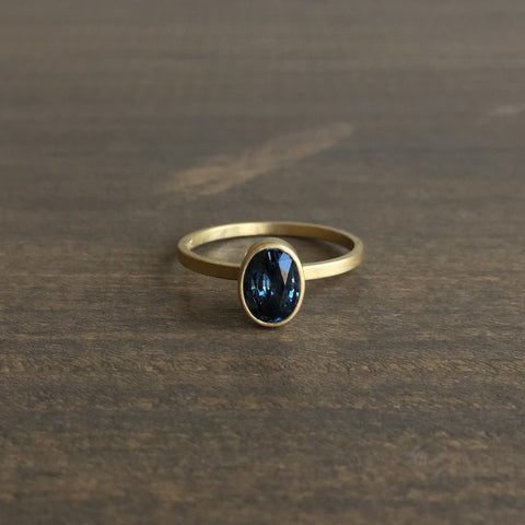 Monika Krol Oval Blue Sapphire Stacking Ring