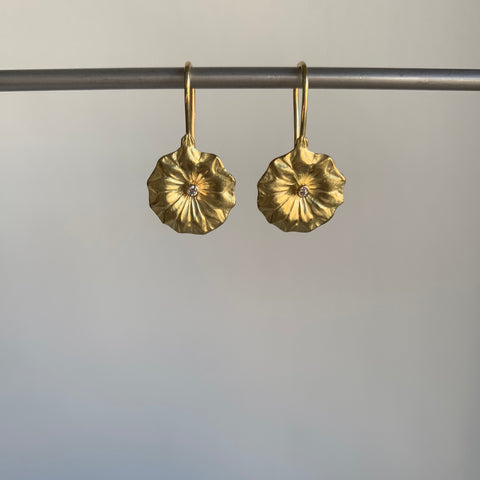 Mimi Favre Gold Lotus Earrings with Diamonds
