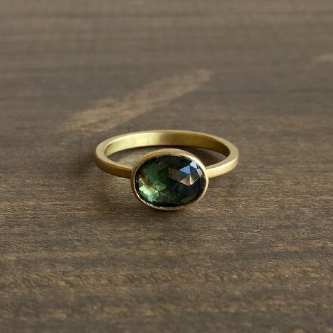 Lola Brooks Oval Natural Green Sapphire Ring