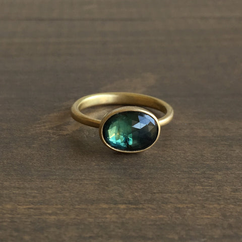 Lola Brooks Oval Natural Blue/Green Sapphire Ring
