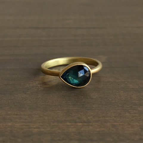 Lola Brooks Tear Drop Natural Teal Sapphire Ring